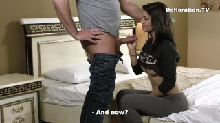 Brunette cutie sucks and being fucked for the first time